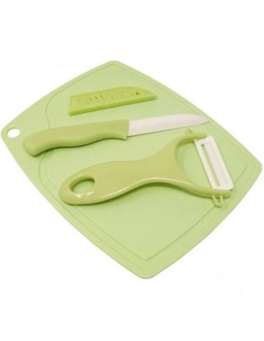 Set Tabla Picar + Cuchillo + Pelapapas