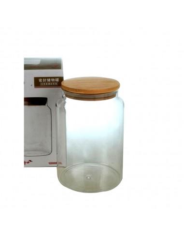 Frasco Vidrio c/Tapa Madera 1200 ml